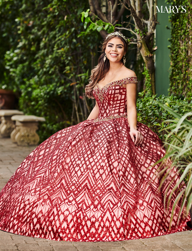 Burgundy Color Marys Quinceanera Dresses - Style - MQ2088
