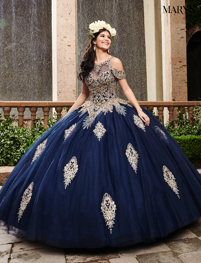 Navy Color Marys Quinceanera Dresses - Style - MQ2091