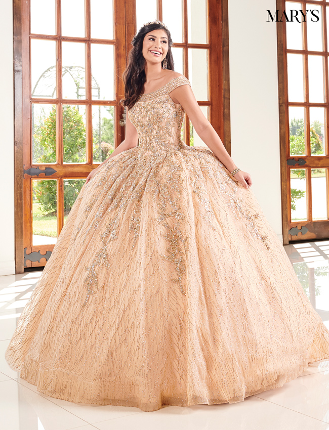Rose Gold Color Marys Quinceanera Dresses - Style - MQ2095