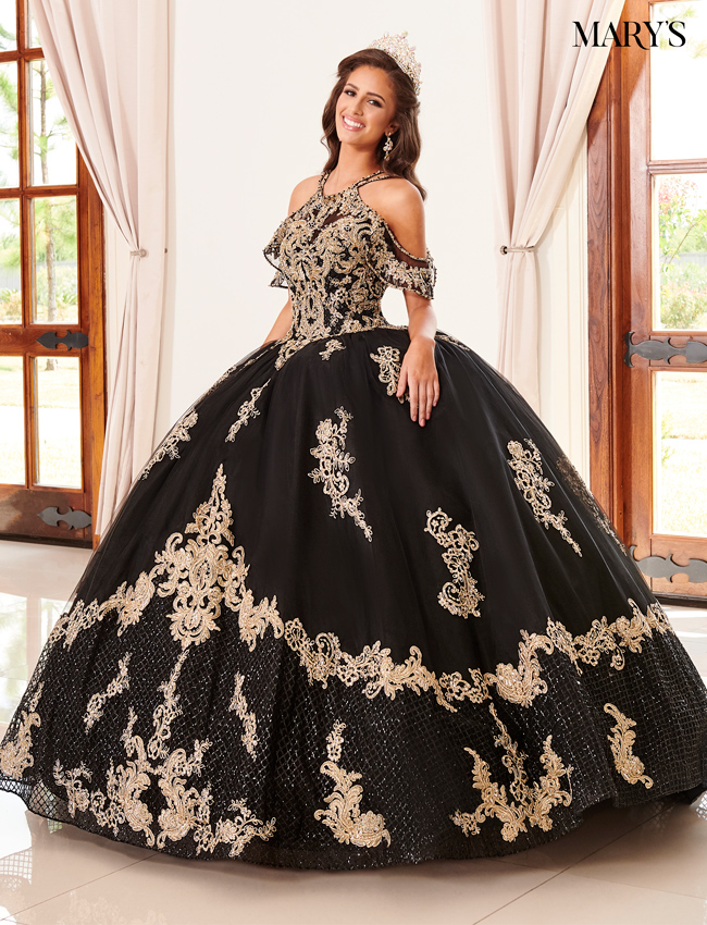 Black Color Marys Quinceanera Dresses - Style - MQ2099