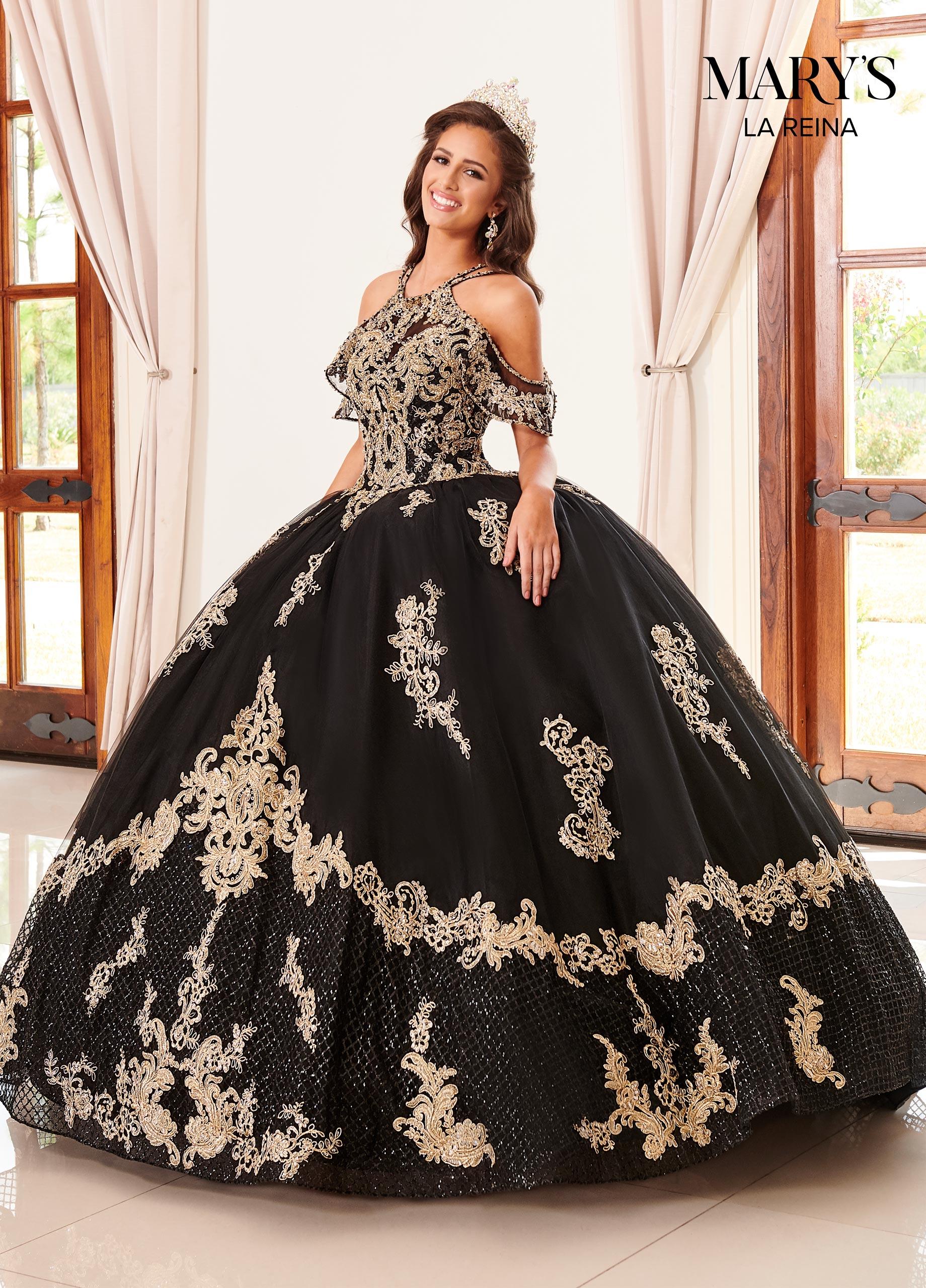 Lareina Quinceanera Dresses Style Mq2099 In Black Gold