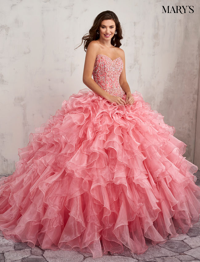 Coral Color Quinceanera Couture Dresses - Style - MQ3002