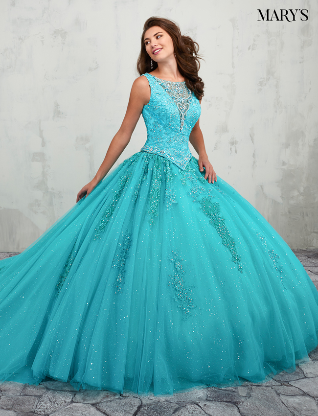 Aqua Color Quinceanera Couture Dresses - Style - MQ3003