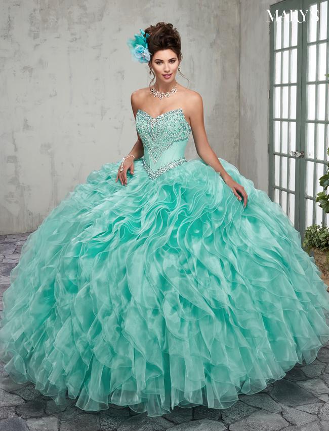 Aqua Color Quinceanera Couture Dresses - Style - MQ3004