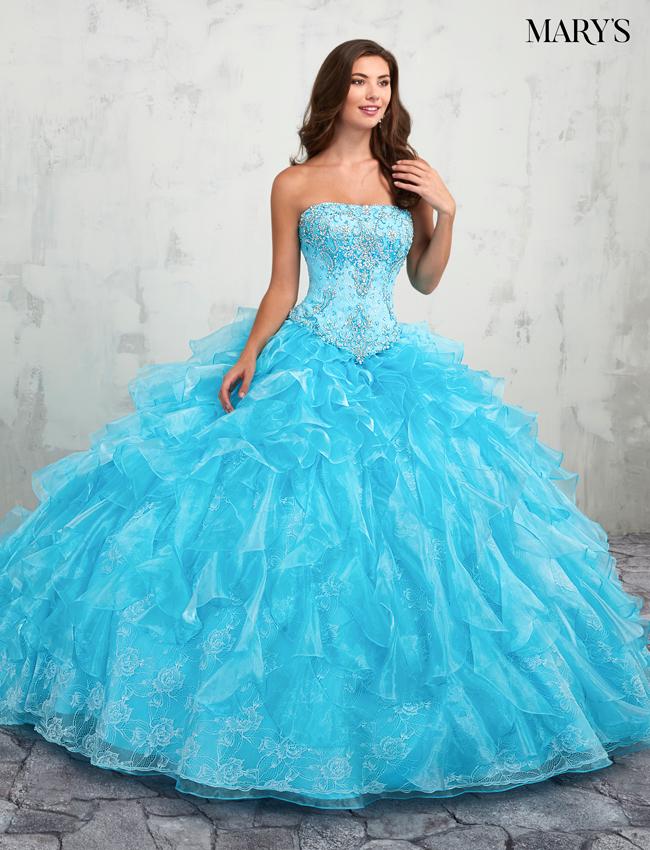 Aqua Color Quinceanera Couture Dresses - Style - MQ3006
