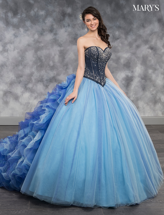 Electric Blue Color Quinceanera Couture Dresses - Style - MQ3017