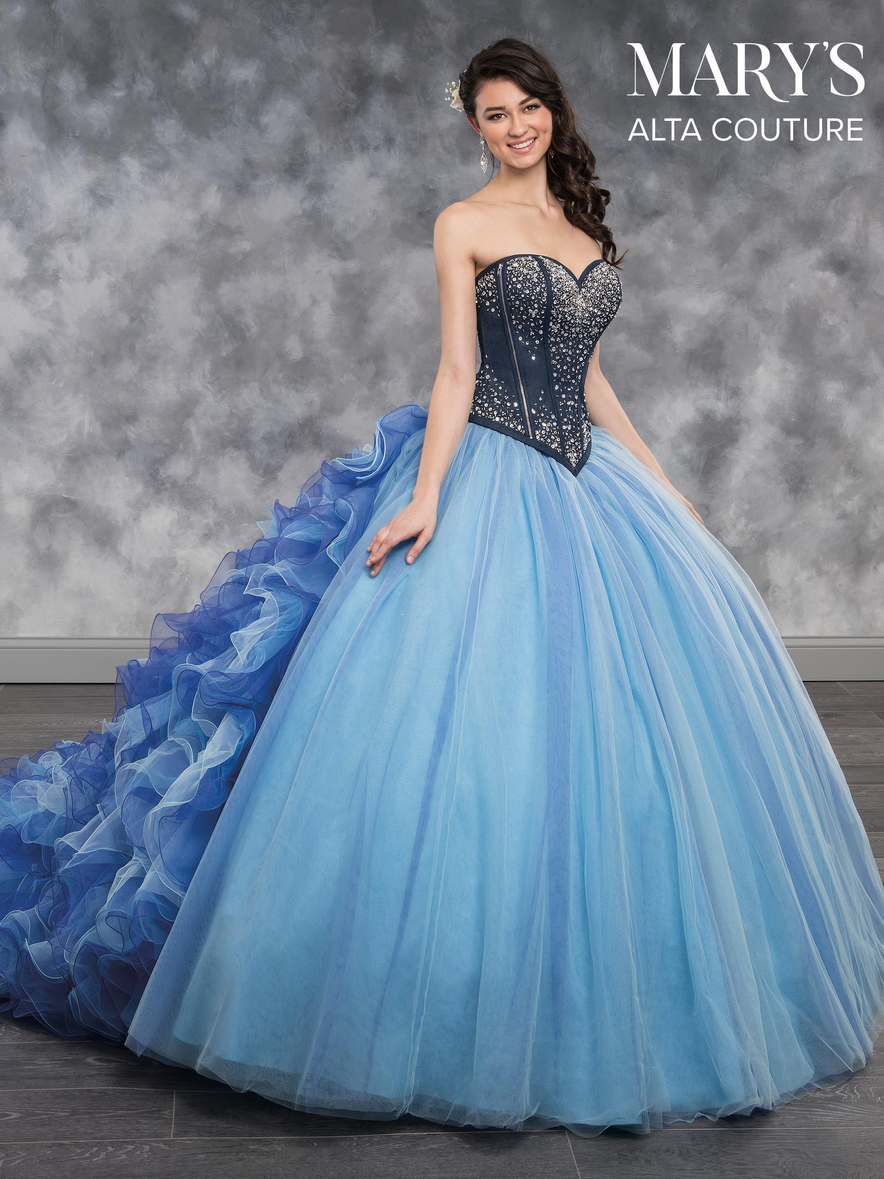 Quinceanera Couture Dresses | Style - MQ3017 in Denim/Electric Blue ...