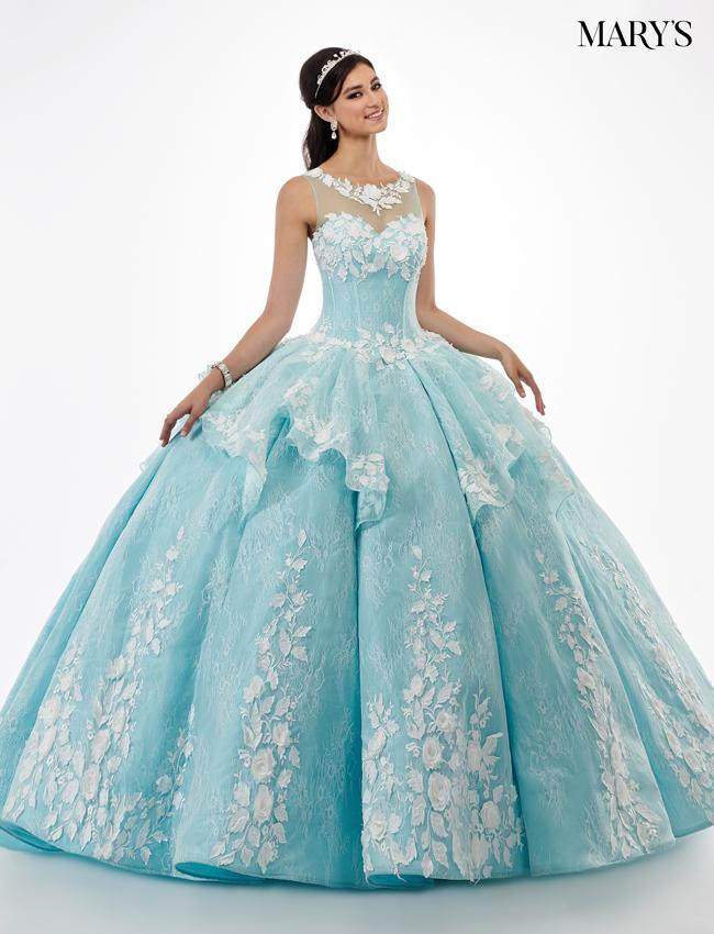 Aqua Color Quinceanera Couture Dresses - Style - MQ3029