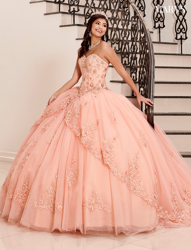 Coral Color Quinceanera Couture Dresses - Style - MQ3042
