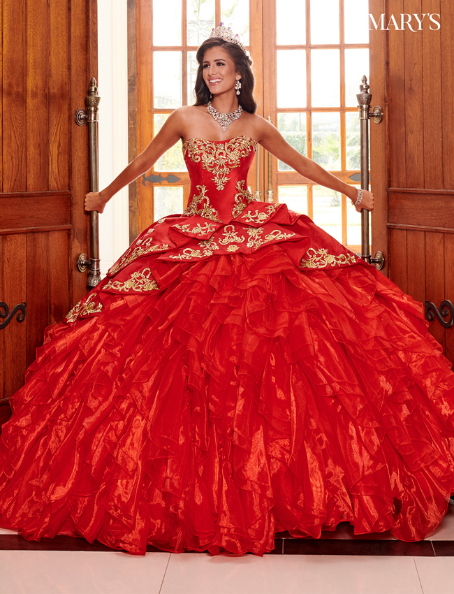 Red Color Quinceanera Couture Dresses - Style - MQ3049