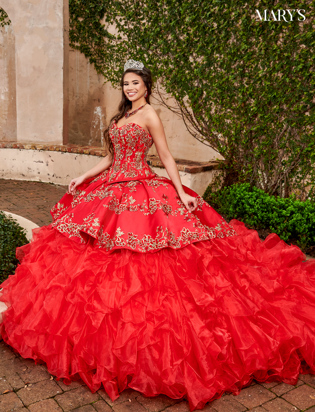 Bright Red Color Quinceanera Couture Dresses - Style - MQ3058