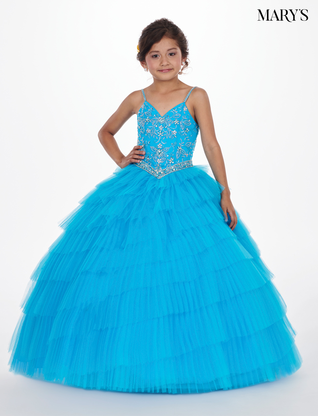 Pacific Blue Color Little Quince Dresses - Style - MQ4006